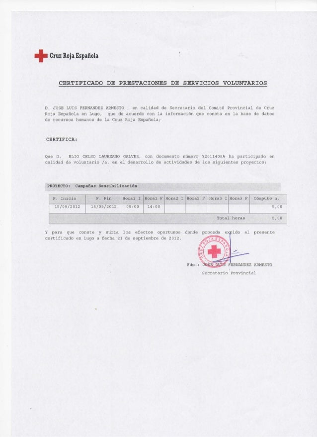 Certificado voluntariado cruz roja