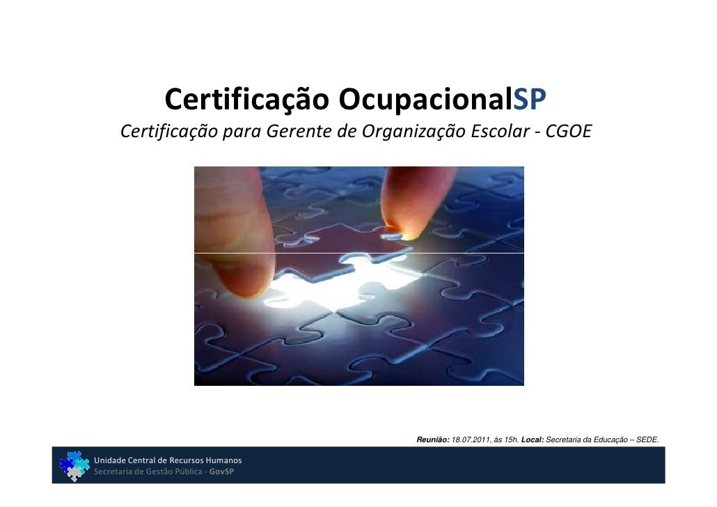 Certificação Ocupacional - Apresentação