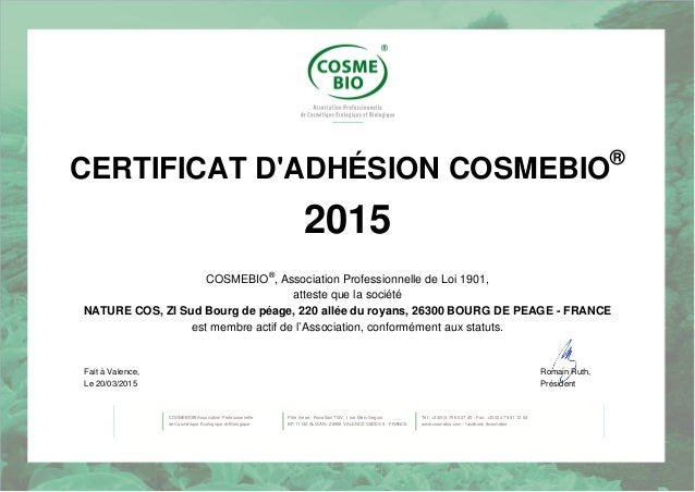 certificat cosmebio 2015 distributeur couleur caramel maquillage natu. Black Bedroom Furniture Sets. Home Design Ideas
