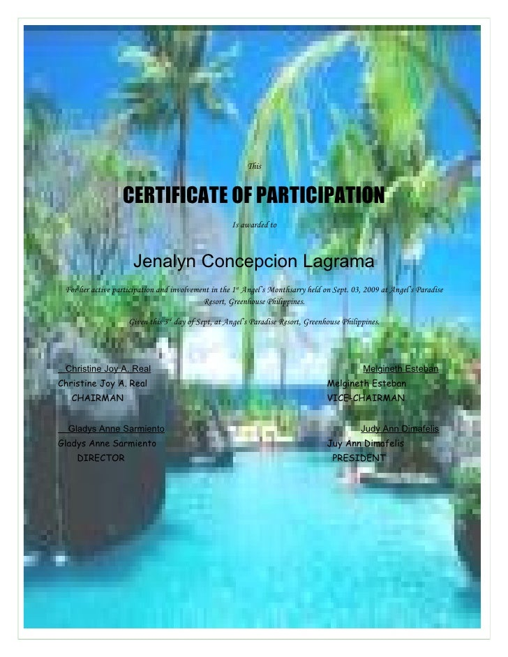 This                     CERTIFICATE OF PARTICIPATION                                                     Is awarded to   ...