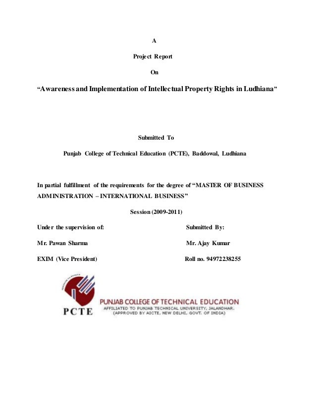 """A Project Report On """"Awareness and Implementation of Intellectual Property Rights in Ludhiana"""" Submitted To Punjab College..."""