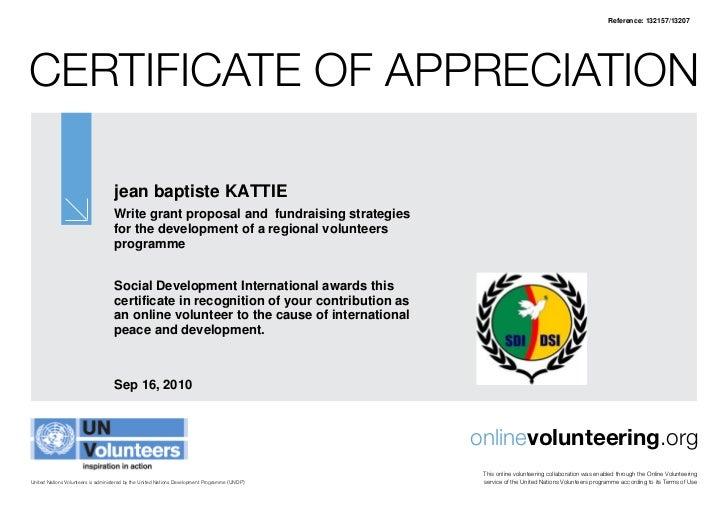Reference: 132157/13207CertifiCate of appreCiation                                   jean baptiste KATTIE                 ...
