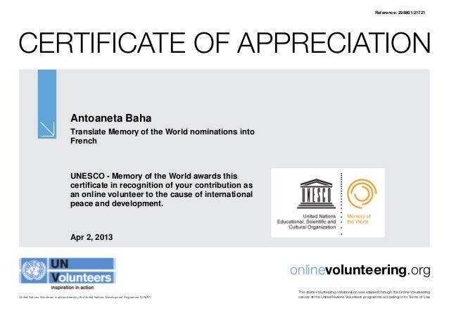 Reference: 298801/21721Certificate of Appreciation                                   Antoaneta Baha                       ...