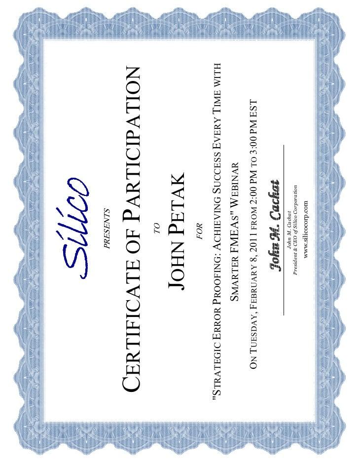 Certificate 20of 20 Participation 20 Silico 20 Petak 20 Fmea[1]