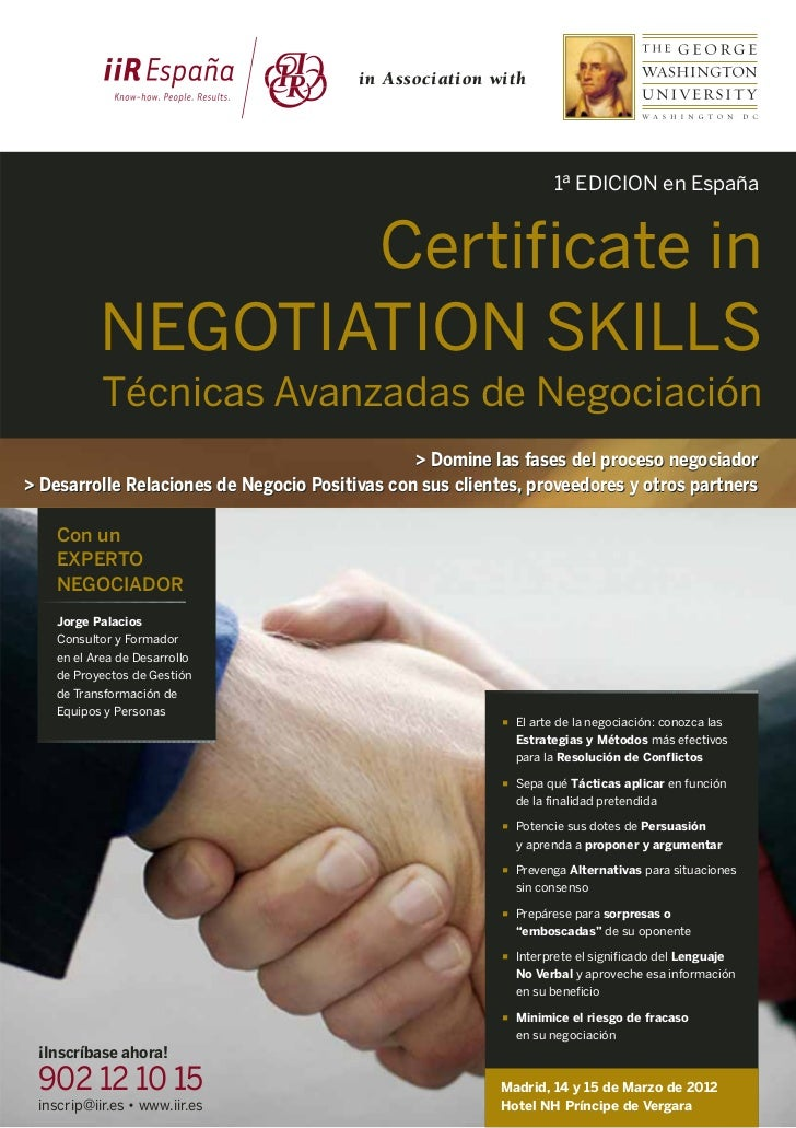 Certificate in Negotiation Skills – George Washington University (GWU)