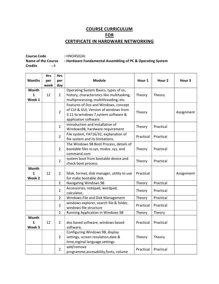 COURSECURRICULUM                                         FOR                        CERTIFICATEINHARDWARENETWORKIN...