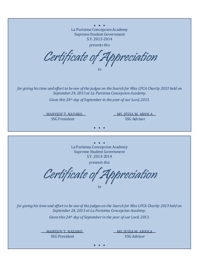 Photo : Appreciation Certificates Wording Images