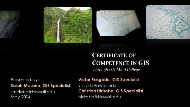 Certificate of Competence in GIS