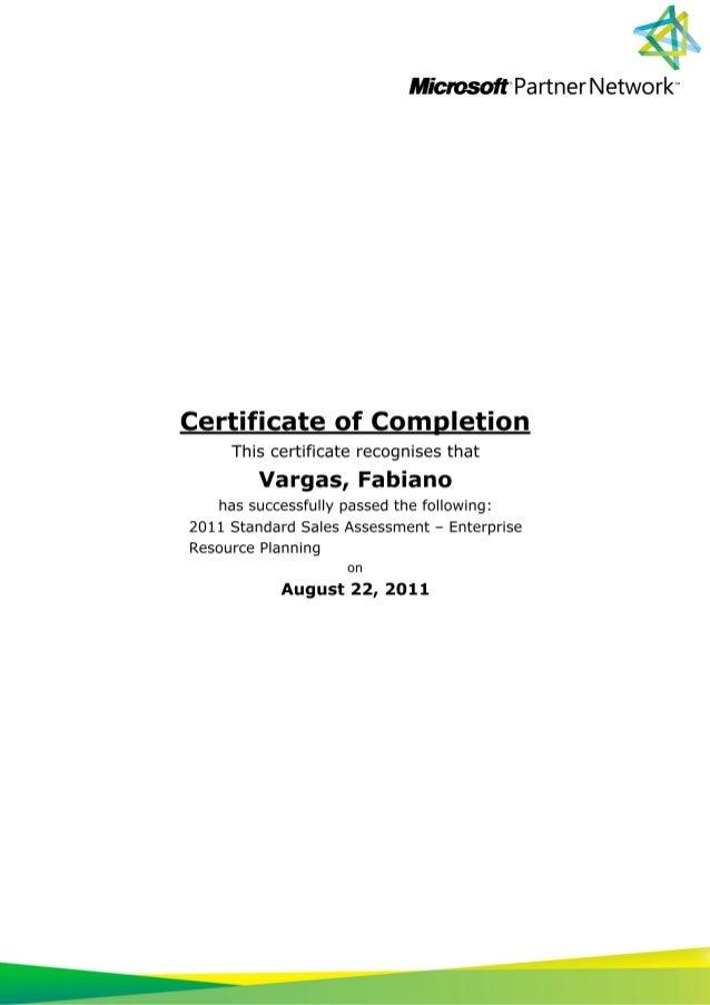 Certificate of completion 2011 standard sales assessment ôçô enterprise resource planning