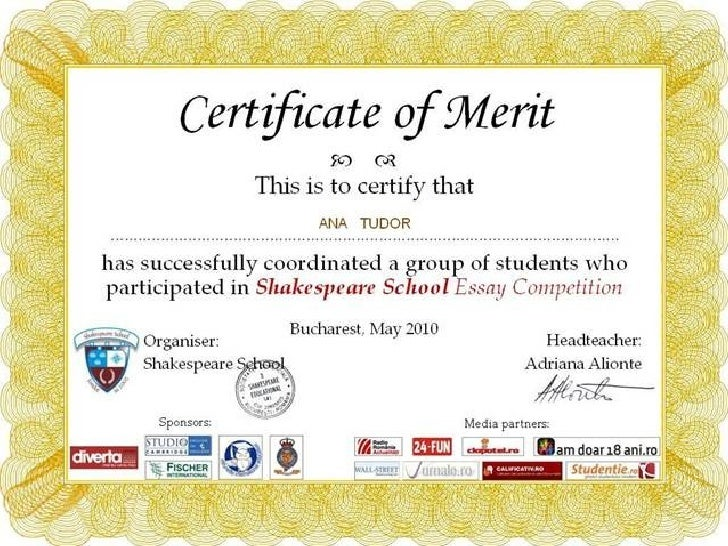 Certificate of mCertificate of Merit Shakespeare School Essay Competitionerit shakespeare school essay competition