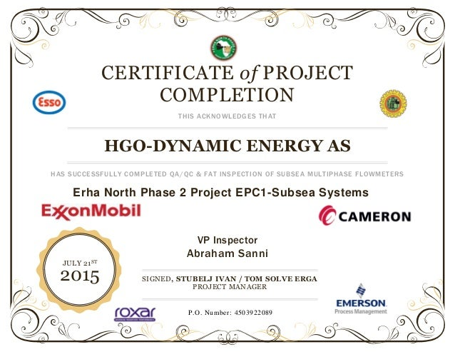 Certificate Template For Project Completion