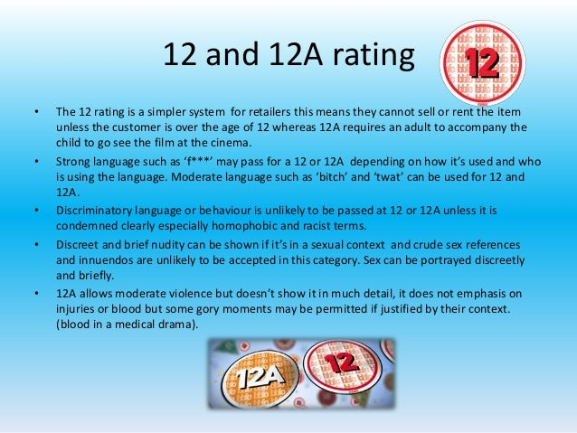 Age Rating 12a 12 And 12a Rating • The 12