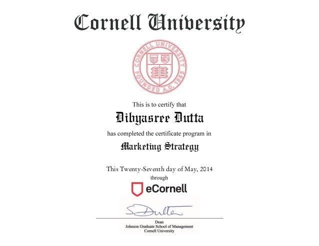 Cornell university marketing strategy certificate reviews
