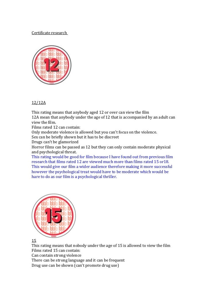 Certificate research12/12AThis rating means that anybody aged 12 or over can view the film12A mean that anybody under the ...