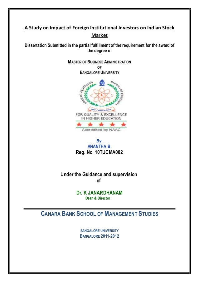 A Study on Impact of Foreign Institutional Investors on Indian StockMarketDissertation Submitted in the partial fulfillmen...