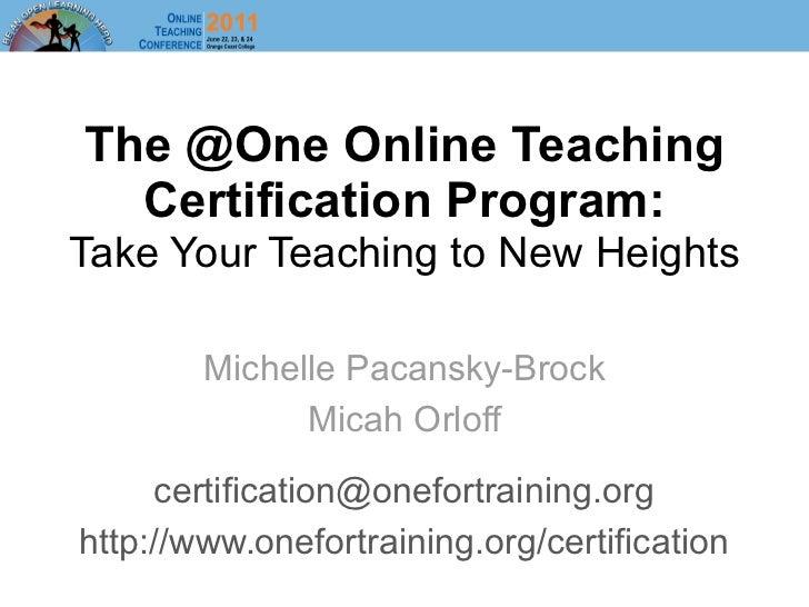 @One Online Teaching Certification Program
