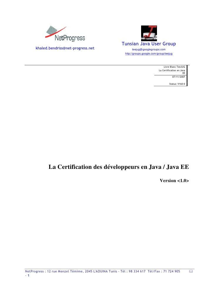 Certification De Java Enterprise Edition V1 0 1