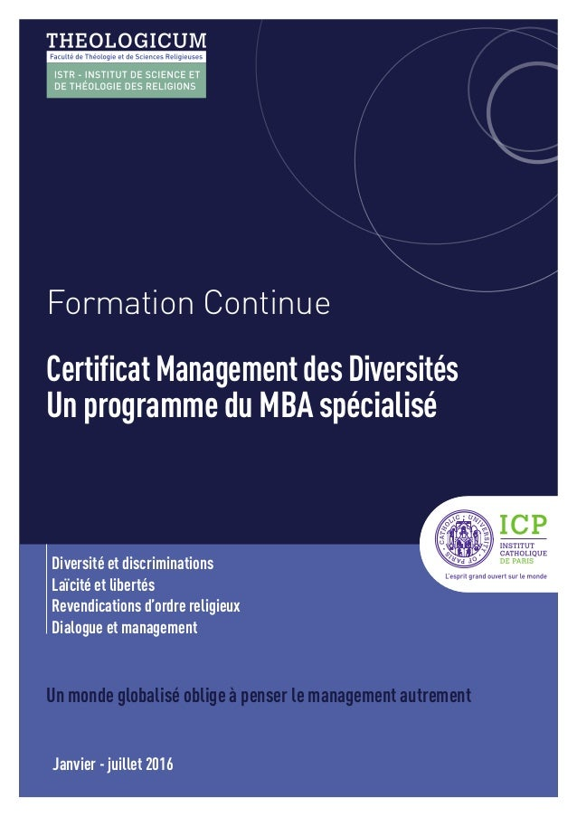 Formation Continue CertificatManagementdesDiversités Un programme du MBA spécialisé Diversité et discriminations Laïcité e...