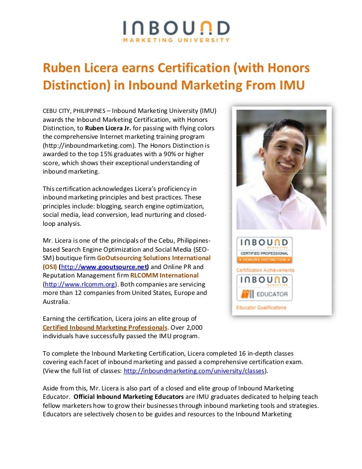 Ruben Licera earns Certification (with HonorsDistinction) in Inbound Marketing From IMUCEBU CITY, PHILIPPINES – Inbound Ma...
