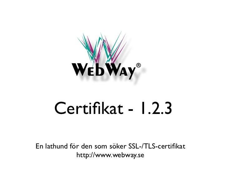 Certifikat - 1.2.3En lathund för den som söker SSL-/TLS-certifikat             http://www.webway.se