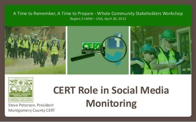 MontgomeryCounty(MD)CERTpresentationtoFEMARegion3IAEM‐USAWholeCommunityStakeholdersWorkshop– April30,2013C...