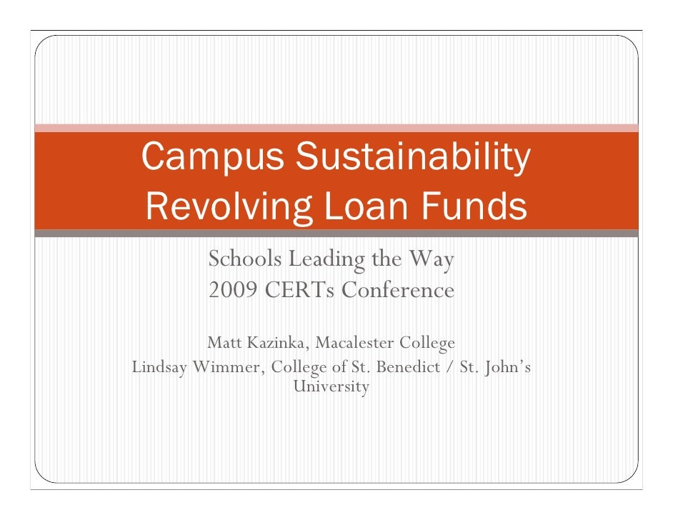Campus Sustainability Revolving Loan Funds