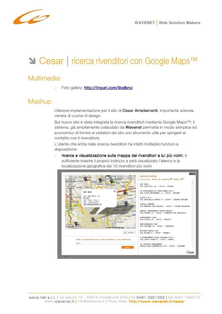 Cesar: ricerca rivenditori con Google Maps™