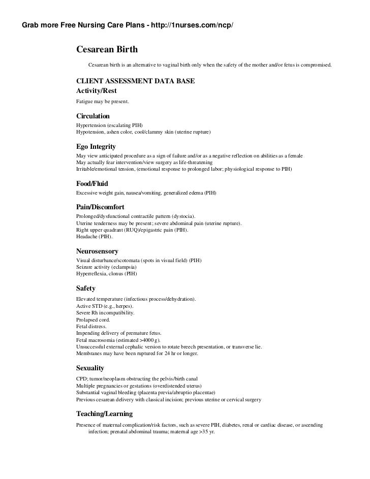 cesarean birth plan template - nursing care plan on cesarean birth