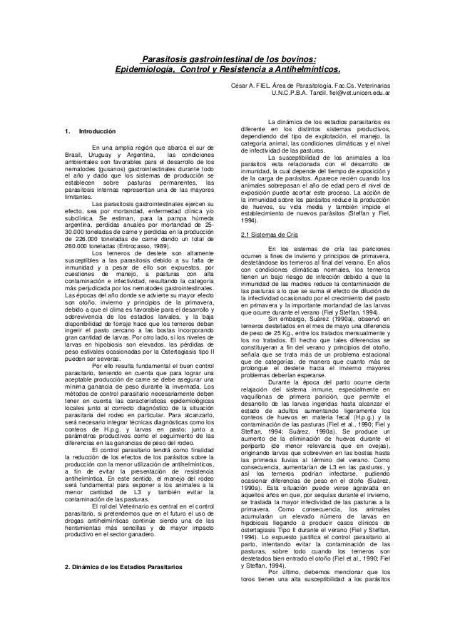 Parasitosis gastrointestinal de los bovinos:                   Epidemiología, Control y Resistencia a Antihelmínticos.    ...