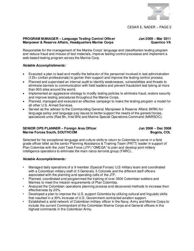 Marine corps resume examples