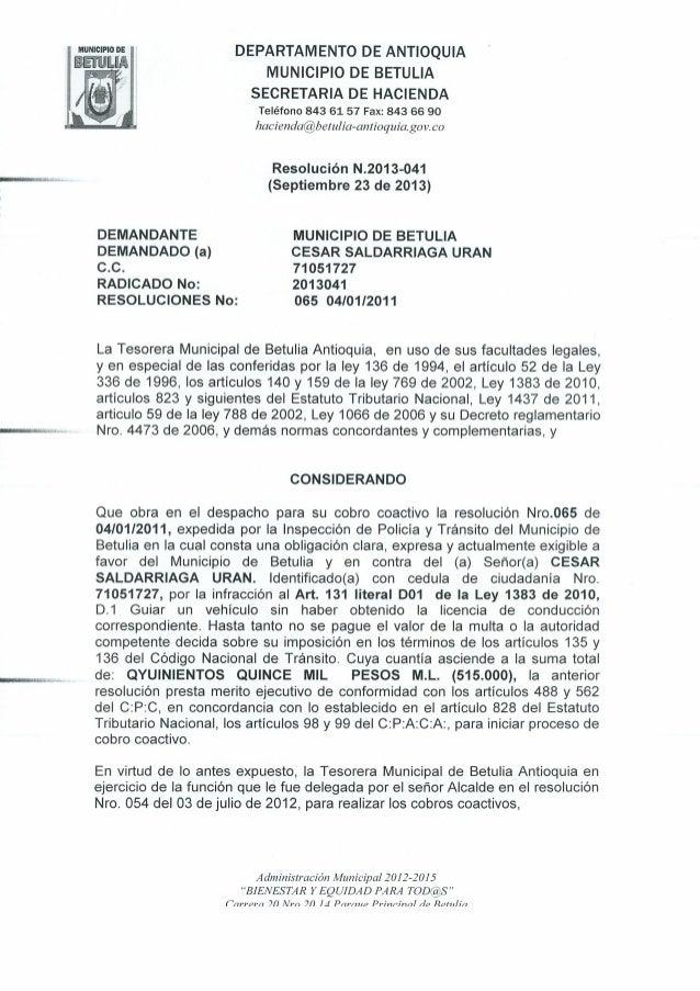 Resolucion N 2013-041 de Septiembre 20 de 2013