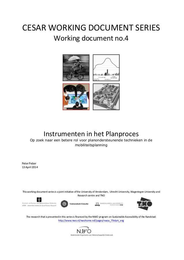 CESAR  WORKING  DOCUMENT  SERIES   Working  document  no.4                       Instrumenten...