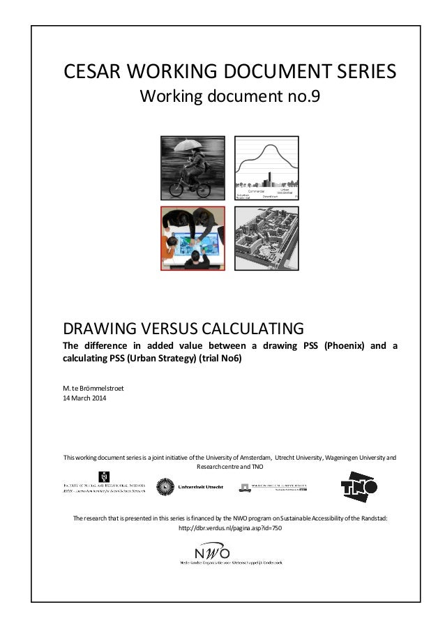 CESAR  WORKING  DOCUMENT  SERIES   Working  document  no.9                       DRAWING  VE...