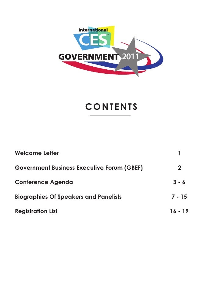 2011                        contentsWelcome Letter                                    1Government Business Executive Forum...
