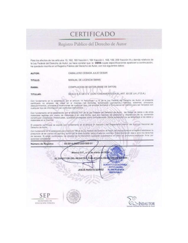 Julio Cesar Caballero Cebada Autor de un Modelo de licenciamiento
