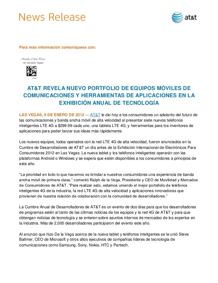 Para más información comuníquese con:Sandra Colón Pérez  787.354.8530 Mobile   AT&T REVELA NUEVO PORTFOLIO DE EQUIPOS MÓVI...