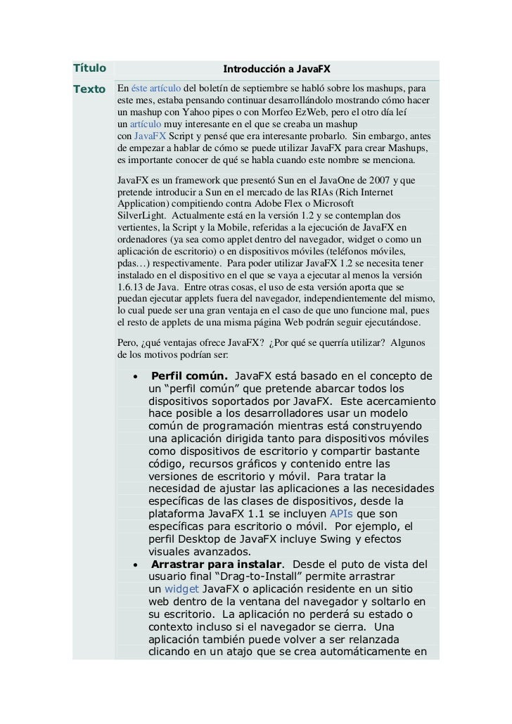 Título                            Introducción a JavaFXTexto    En éste artículo del boletín de septiembre se habló sobre ...
