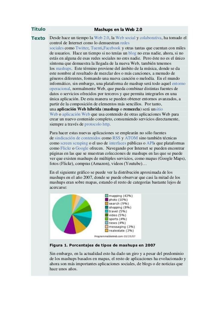 Título                            Mashups en la Web 2.0Texto Desde hace un tiempo la Web 2.0, la Web social y colaborativa...