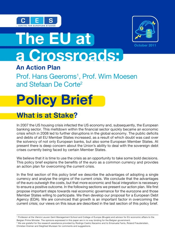 The European Union at a Crossroads: An Action Plan