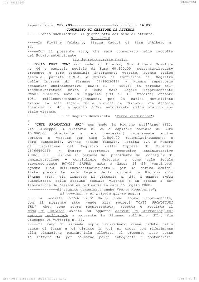 ID: 99886462 24/02/2014 Archivio ufficiale delle C.C.I.A.A. Pag di1 8