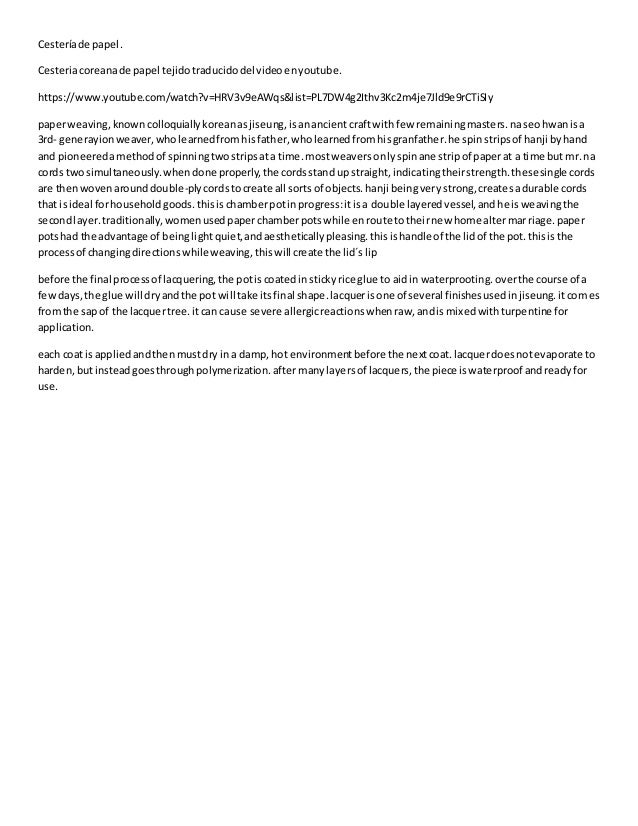 Cesteríade papel. Cesteriacoreanade papel tejidotraducidodelvideoenyoutube. https://www.youtube.com/watch?v=HRV3v9eAWqs&li...