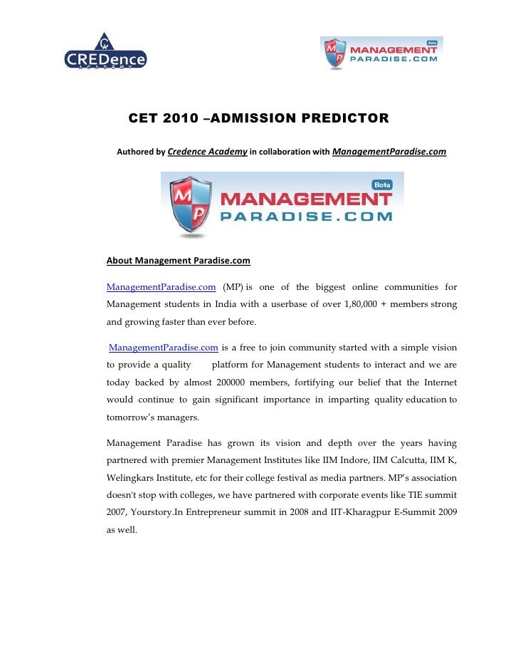 CET 2010 –ADMISSION PREDICTOR    Authored by Credence Academy in collaboration with ManagementParadise.com     About Manag...