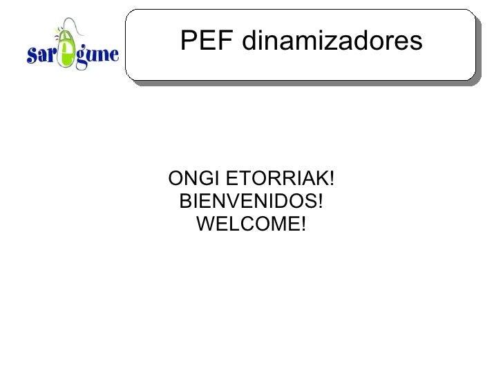 PEF dinamizadores ONGI ETORRIAK! BIENVENIDOS! WELCOME!