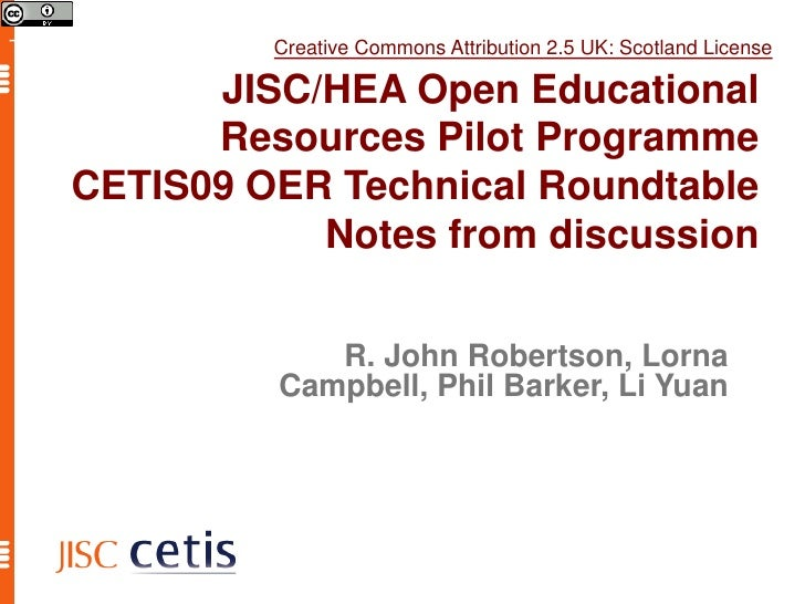 CETIS09 OER Technical Roundtable