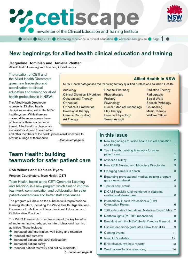 cetiscape                     newsletter of the Clinical Education and Training Institute       Issue 6  July 2011  Pro...