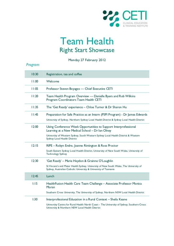 Team Health                      Right Start Showcase                              Monday 27 February 2012Program  10:30  ...