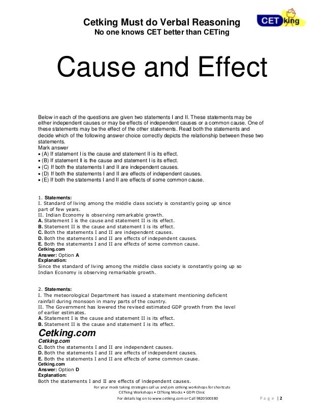 cause and effect essay relationships