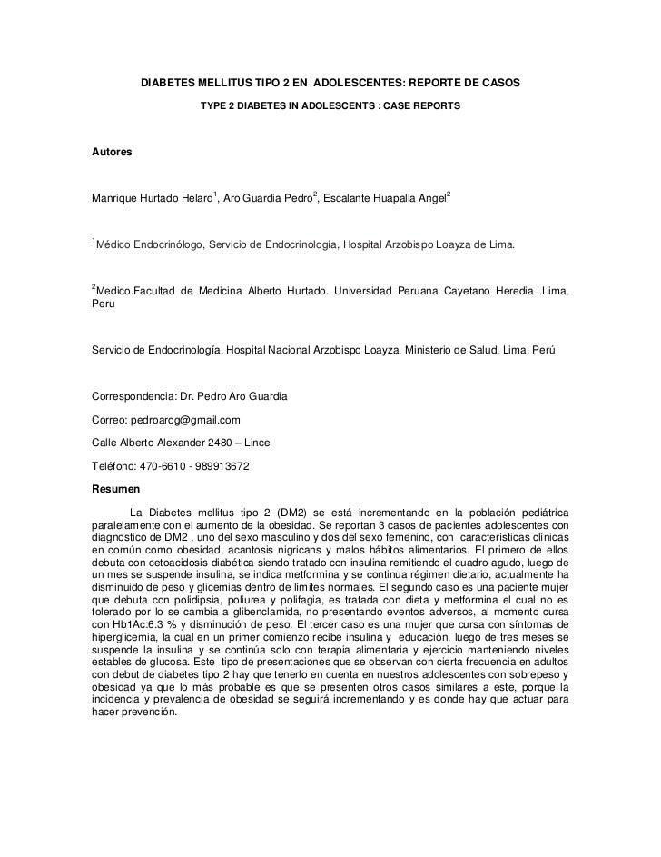 DIABETES MELLITUS TIPO 2 EN ADOLESCENTES: REPORTE DE CASOS                      TYPE 2 DIABETES IN ADOLESCENTS : CASE REPO...