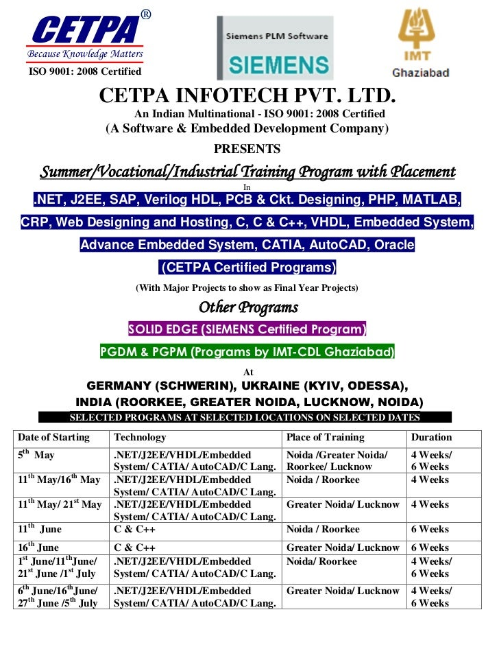 ®  Because Knowledge Matters  ISO 9001: 2008 Certified                      CETPA INFOTECH PVT. LTD.                      ...