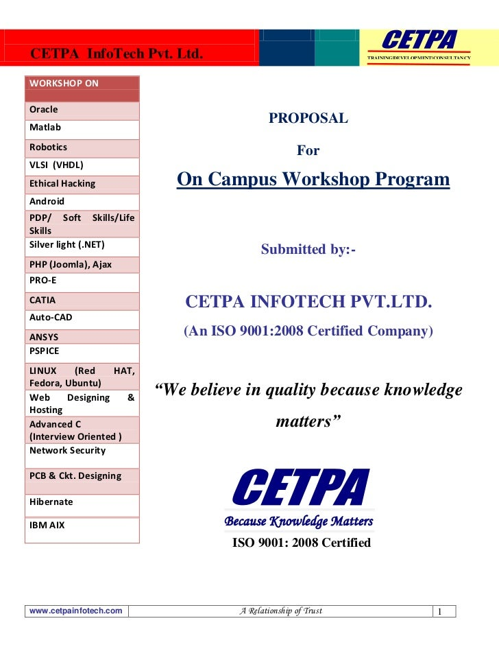 CETPA Workshop Proposal for Students & Corporates